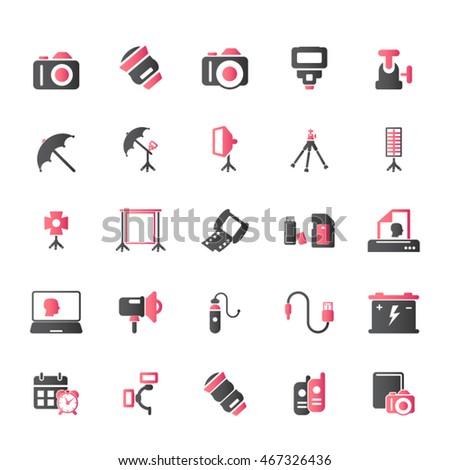مجموعه آیکون های عکاسی و دوربین