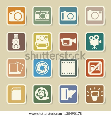 Camera and Video sticker icons set, Illustration