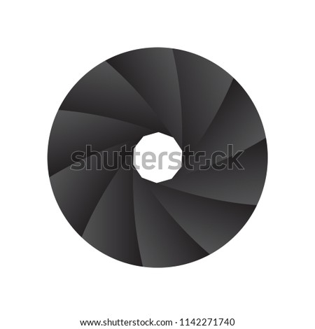 Camera aperture diaphragm icon for web and print use