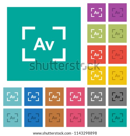 Camera aperture value mode multi colored flat icons on plain square backgrounds. Included white and darker icon variations for hover or active effects.