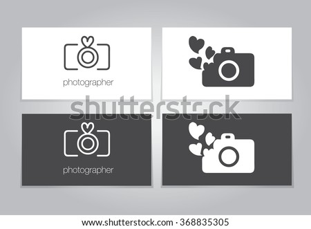 Camera conceptual logo with heart for photographer. Vector illustration