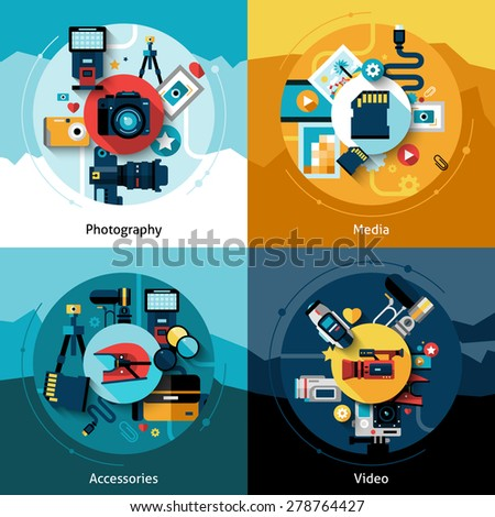 Camera design set with photography media accessories and video flat icons isolated vector illustration