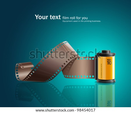 Camera film roll design on blue background. vector illustration