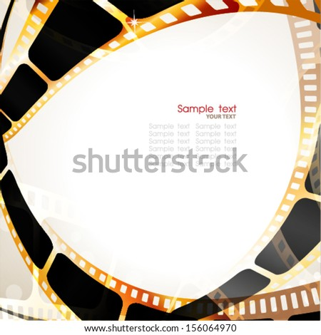 Camera film roll gold color, vector illustration