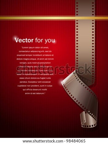 Camera film roll on wallpaper red background, vector illustration