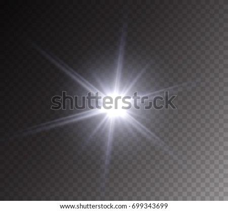Camera flash light effect isolated on transparent background. White highlight, flashlignt or vivid star burst. Vector glow sparkle illustration.