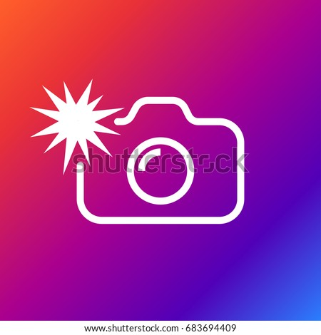 Camera flash rounded icon. Vector illustration style is flat iconic symbol white color on the color background. Editable stroke