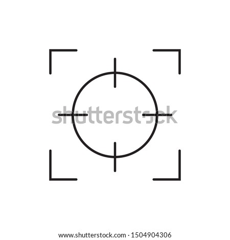 Camera focus lens vector icon isolated on white background