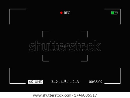 Camera frame. Video screen with rec, viewfinder. Background for record movie. Display with focus, time, battery for videography, surveillance. Template for photography, cinema. View from cam. Vector.