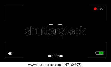 Camera frame viewfinder screen of video recorder digital display interface. Camera viewfinder. Recording. Vector Illustration.