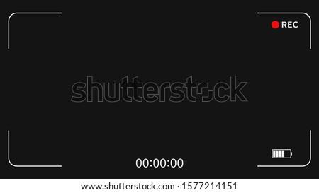 Camera frame viewfinder screen of video recorder digital display interface. Camera viewfinder. Recording.