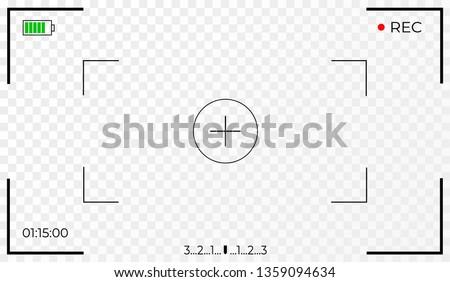 Camera frame viewfinder screen of video recorder digital display. Transparent background. Vector illustration EPS10 Photo stock ©