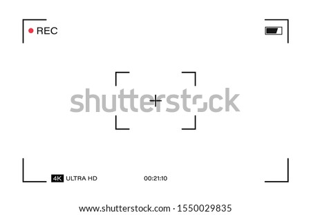Camera horizontal viewfinder template on a transparent background. 4K phone resolution video rec frame. Video recording screen. Vector graphic design.