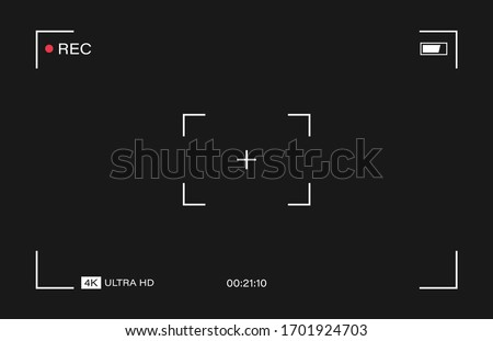 Camera horizontal viewfinder template on black background. 4K phone resolution video rec frame. Video recording screen. Vector graphic design.