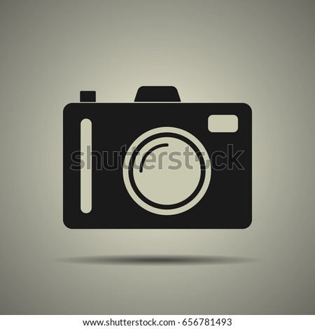 Camera icon in black and white style, isolated