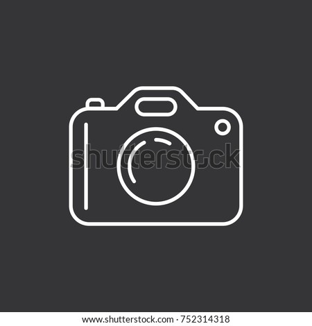 Camera icon on black background. Modern simple flat device sign. Vector illustration.