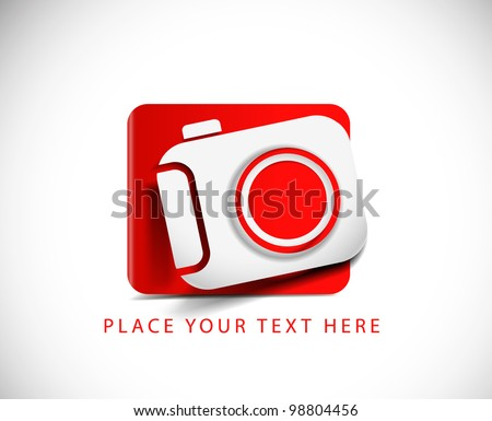 camera icon on white button