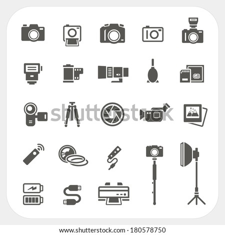 Camera icons and Camera Accessories icons set on white background