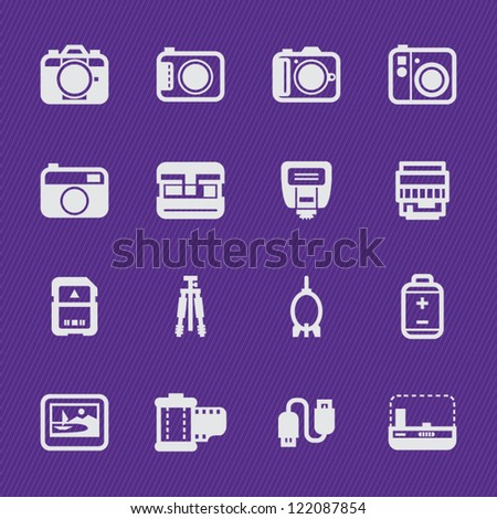 Camera Icons and Camera Accessories Icons with Violet Background