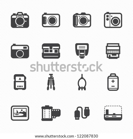 Camera Icons and Camera Accessories Icons with White Background