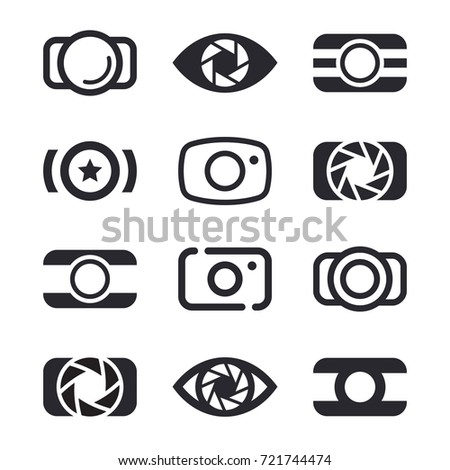 Camera icons and photography logo design