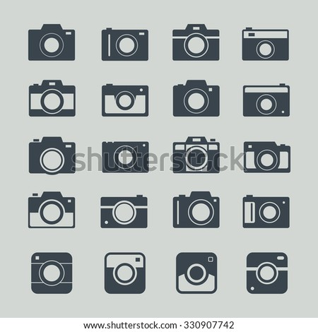 Camera icons or symbol on color background. Camera silhouette or logo vector set isolated on background.