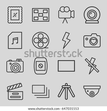 camera icons set set of 16