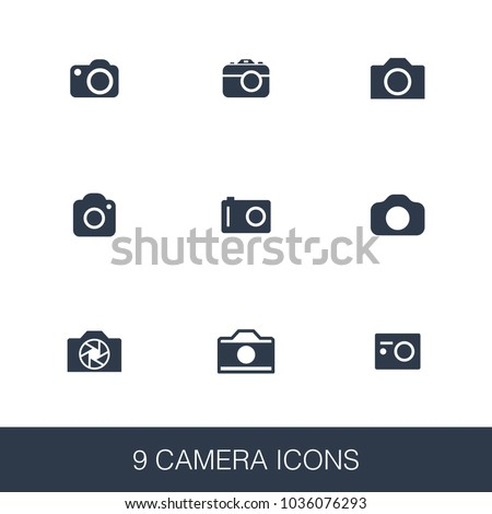 Camera icons set. Simple design glyph signs. Camera symbol template. Universal style icon, can be used for web and mobile UI