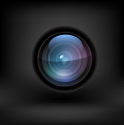 Camera lens black background. Vector
