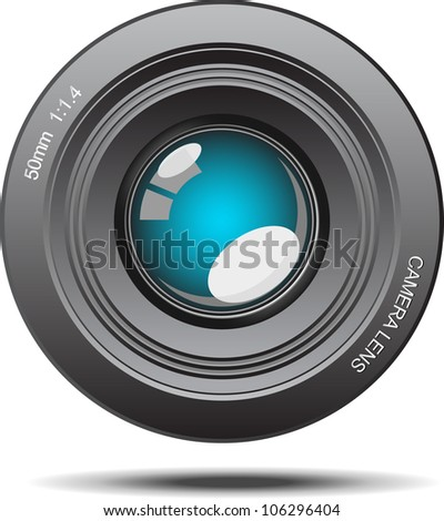 Camera lens blue glass with reflection illustration