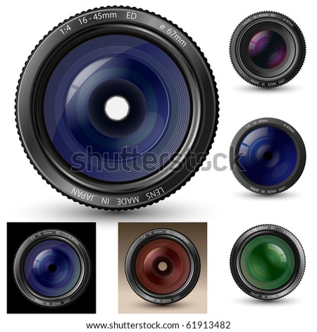 Camera lens collection. A camera lens vector illustrations with realistic reflections and shadow