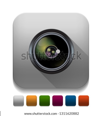camera lens Icon With long shadow over app button