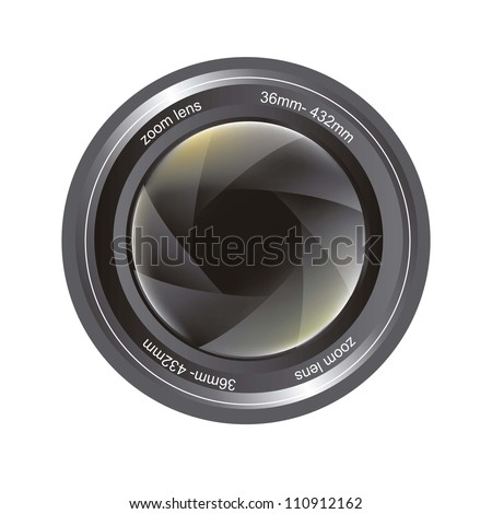 camera lens isolated over white background. vector illustration
