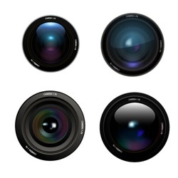 Camera lens set on white background. Vector
