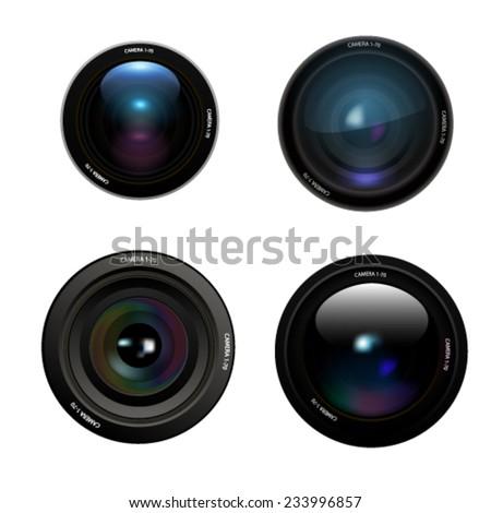 Camera lens set on white background Vector