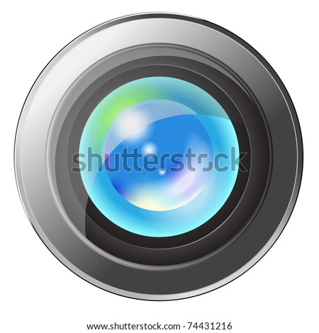 Camera lens with  refection of sky isolated
