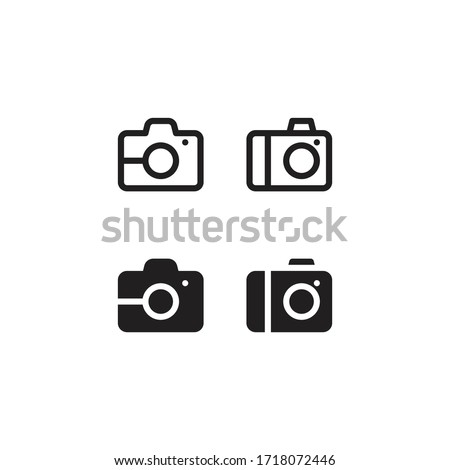 Camera line and solid icon style. Camera vector design concept, outline style pictogram on white background.