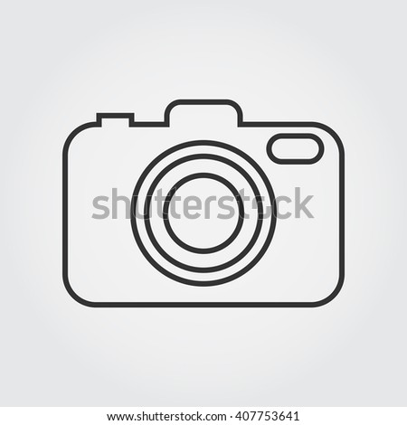 Camera line icon, outline vector illustration, linear pictogram isolated on gray