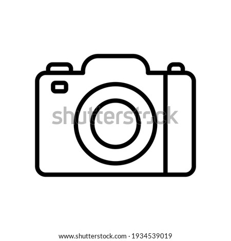 Camera line icon. Studio camera for photographer outline symbol. Vector isolated on white.