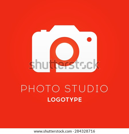 Camera Logo Design for Creative Photo Studio with Letter P inside. Vector Illustration Isolated on Red Background