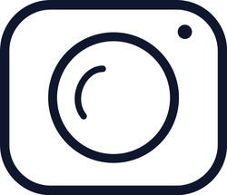 Camera logo in in trendy line style. Outlaine flat icon. Camera symbol for your web site design, logo, app, UI. Vector.