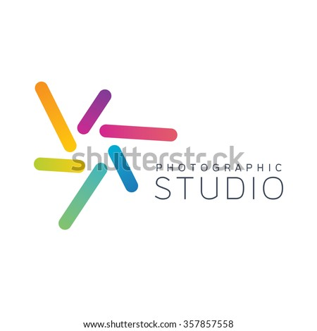 Camera logo. Photo logo. Shutter logo. Photography logo. Design logo. Colorful logo. Focus logo. Lens logo