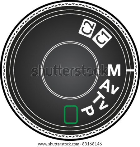 Camera mode dial for choosing shooting mode: Auto mode, Program mode, Aperture priority mode, Shutter priority mode, Manual mode in vector