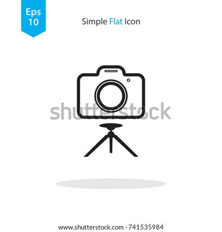 camera on tripod icon vector