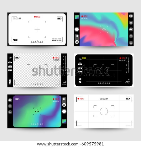 Camera Phone Interface Vector. Photo Viewfinder Screen. Modern Video Rec Camera Interface Concept For Touch Phone Devices Illustration