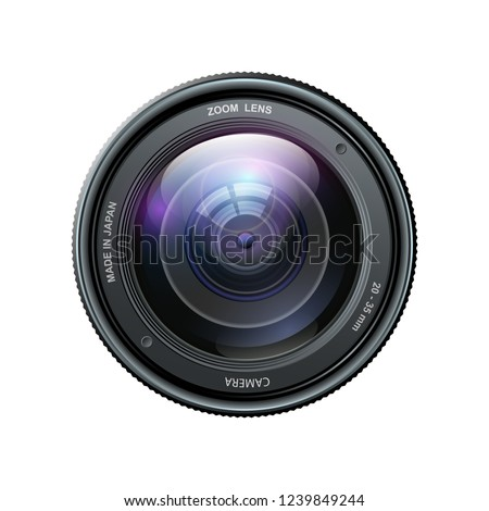 Camera photo lens, Camera lens isolated on white background - stock vector
