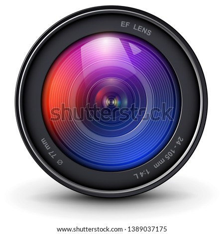 Camera photo lens 3D realistic icon, vector illustration.