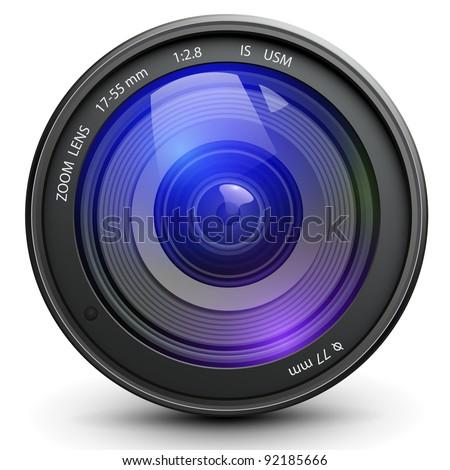 Camera photo lens, vector. - stock vector