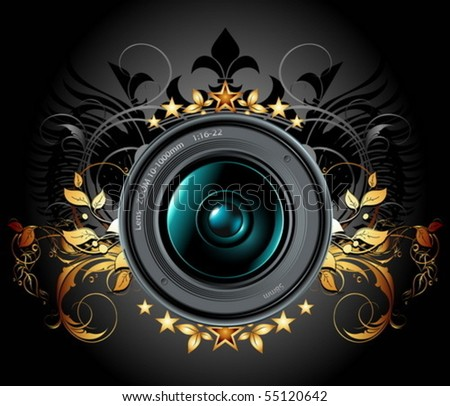 camera photo lens with ornate background
