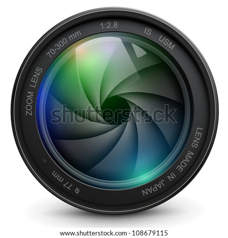 camera photo lens with shutter. - stock vector